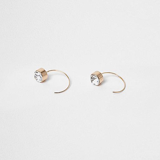 Gold tone diamante curve through earrings