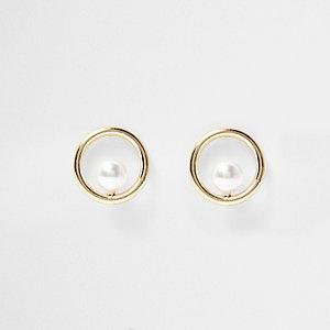 Clous d'oreilles dorés avec perle
