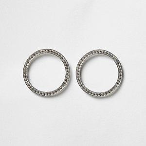 Silver tone diamante paved circle earrings