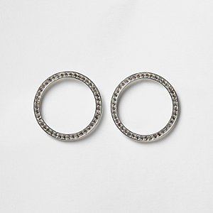 Silver tone rhinestone paved circle earrings