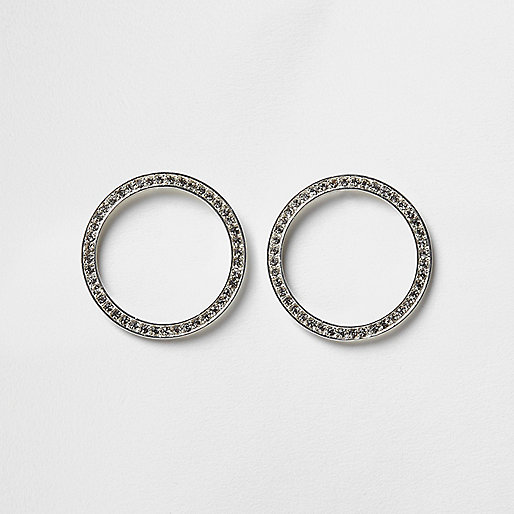 Silver tone diamante pave circle earrings