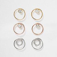 Metal rhinestone circle earring pack