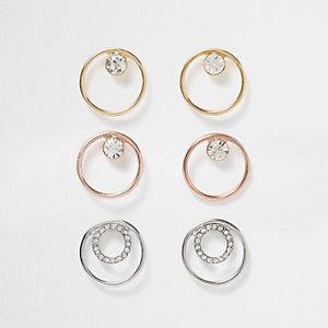 Lot de boucles d'oreilles circulaires en métal