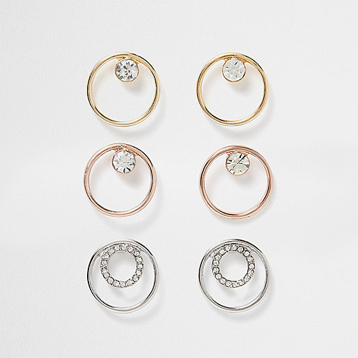Metal rhinestone circle earring pack