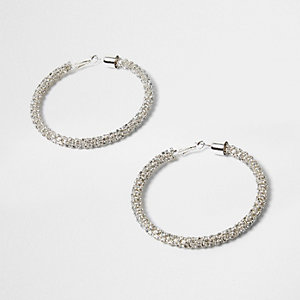 Silver tone diamante rope hoop earrings