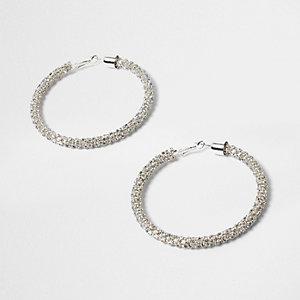 Silver tone rhinestone rope hoop earrings