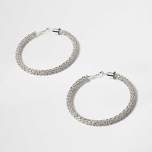 Silver tone rhinestone rope hoop earrings