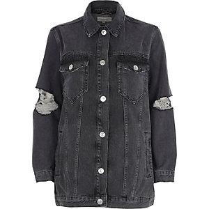 Veste en jean noire oversize déchirée