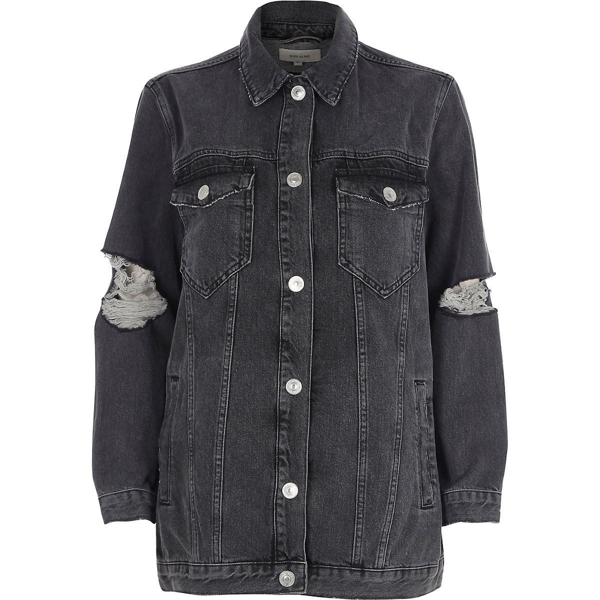 Black ripped oversized denim jacket