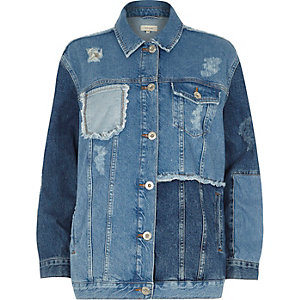 Blue oversized patchwork denim jacket