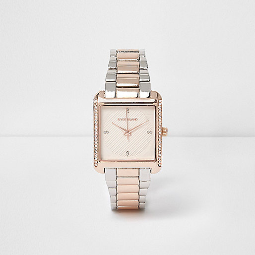 Rose gold tone diamante pave square watch