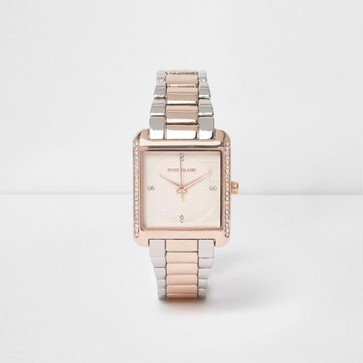 Rose gold tone rhinestone pave square watch