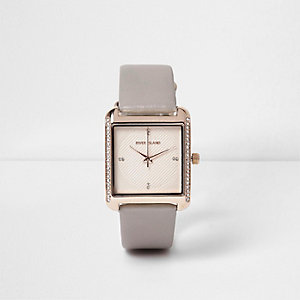 Grey diamante square face watch