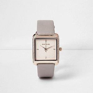 Grey rhinestone square face watch