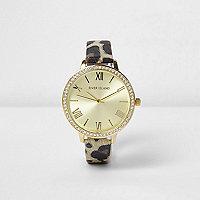Brown leopard print diamante encrusted watch