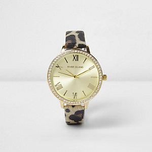 Braune, strassverzierte Armbanduhr mit Leopardenmuster