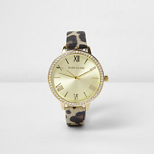 Brown leopard print rhinestone encrusted watch