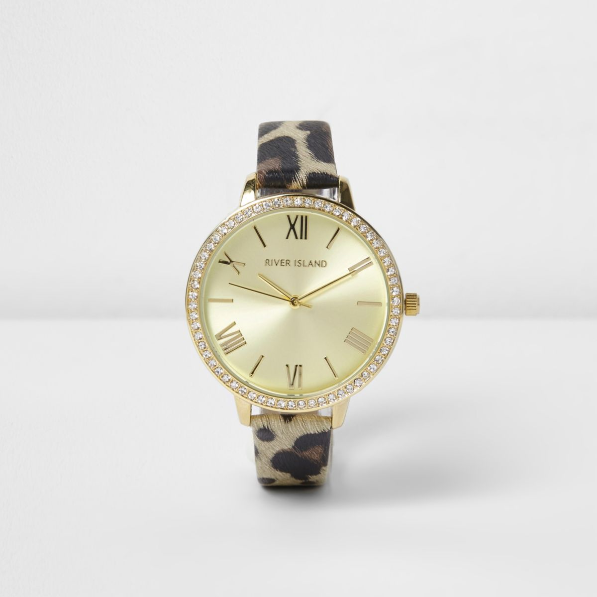 brown leopard print diamante encrusted watches