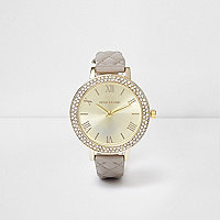 Grey quilted rhinestone encrusted watch