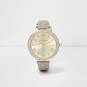 Grey quilted diamante encrusted watch