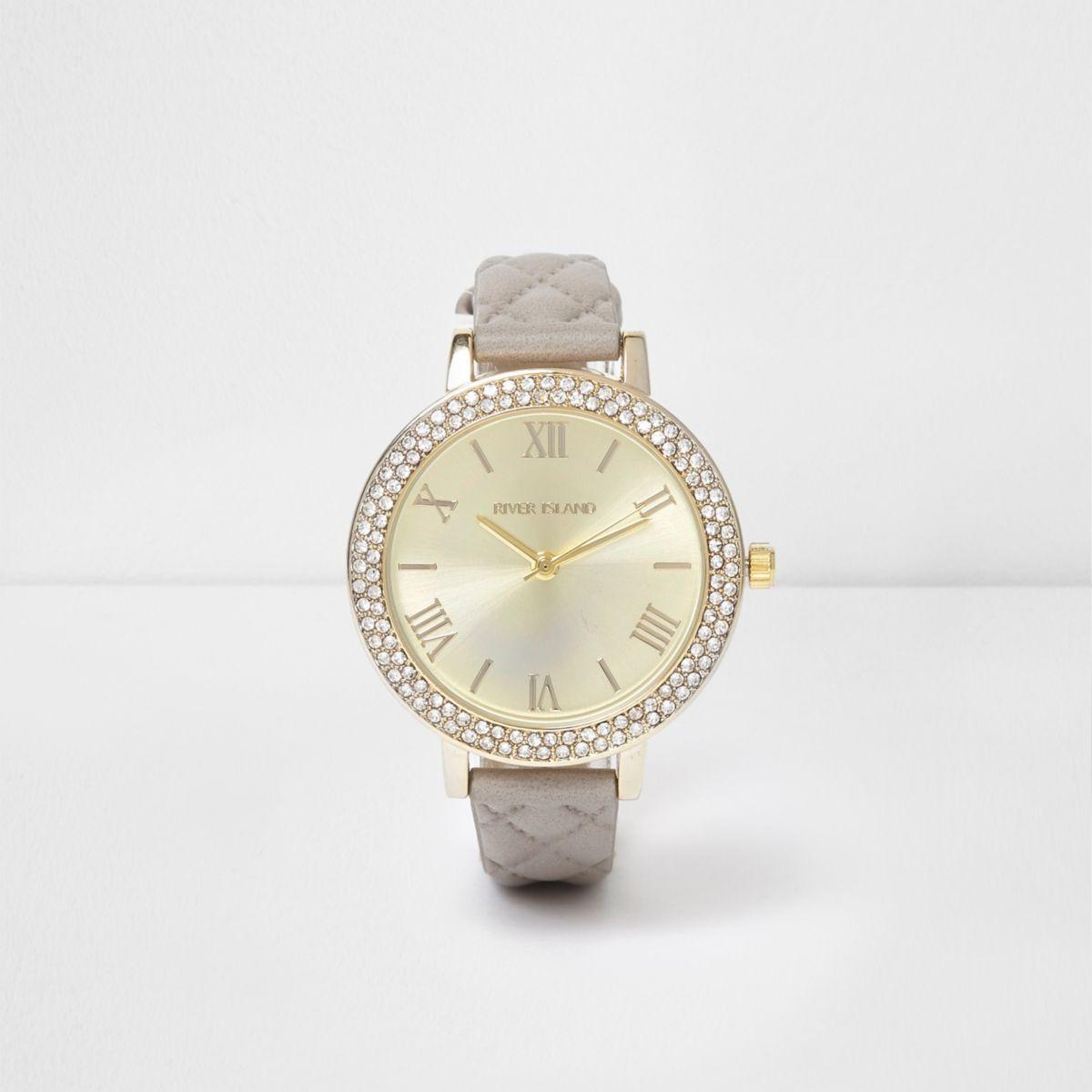 Grey quilted rhinestone encrusted watch