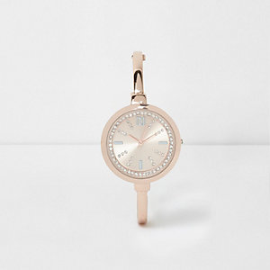Montre or rose ronde à strass