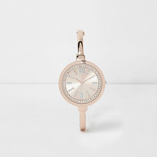 Rose gold tone diamante round watch