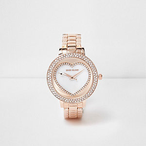 Rose gold tone rhinestone heart watch