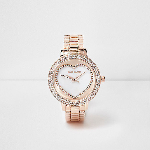 Rose gold tone rhinestone heart watch