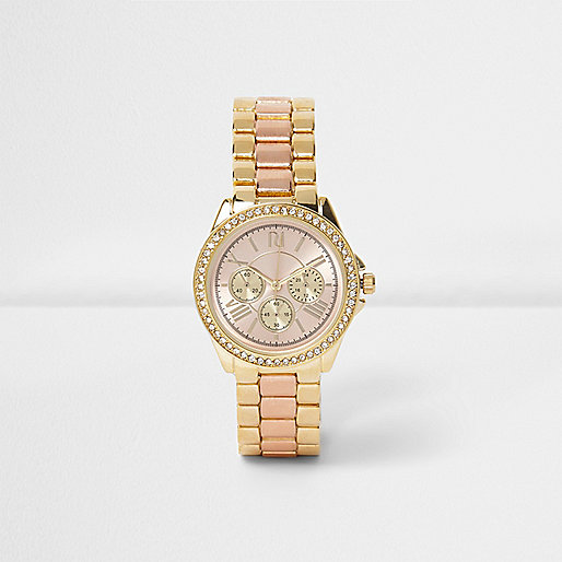 Rose gold and gold tone chain rhinestone watch