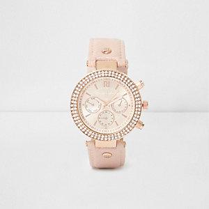 Strassverzierte Armbanduhr in Hellrosa