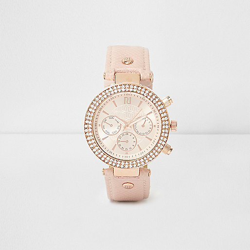 Light pink rhinestone embellished watch