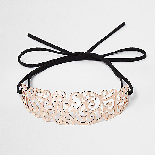 Rose gold filigree bow choker