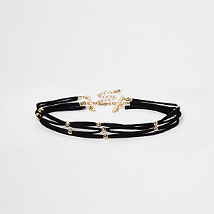 Black lattice stud choker