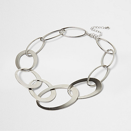 Silver tone statement chain necklace
