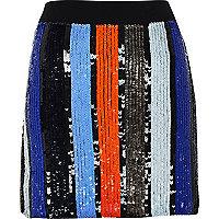 Mini-jupe à rayures ornée de sequins