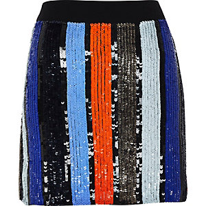 Blue stripe sequin mini skirt