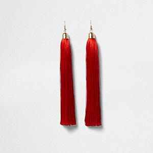 Red tassel dangle earrings