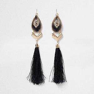 Gold tone statement tassel drop earrings