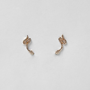 Gold tone diamante snake earrings