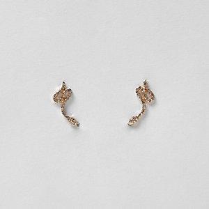 Boucles d'oreilles dorées motif serpent orné de strass