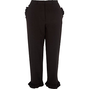 Black frill hem cropped straight leg trousers