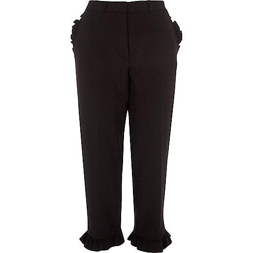 Black frill hem cropped straight leg trousers