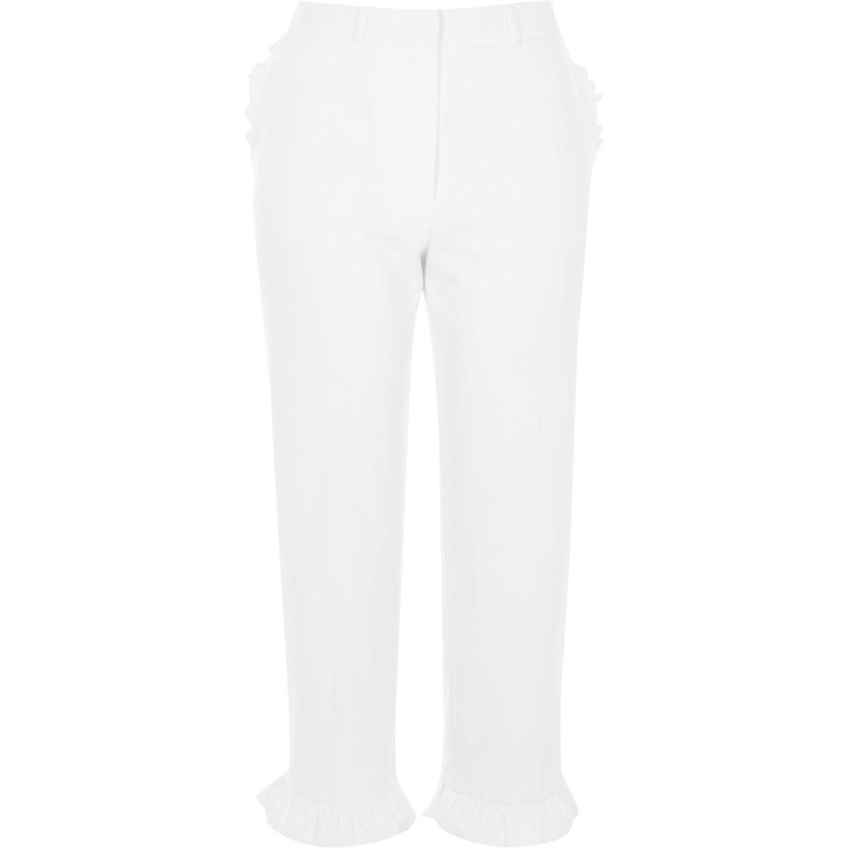 White frill hem cropped trousers