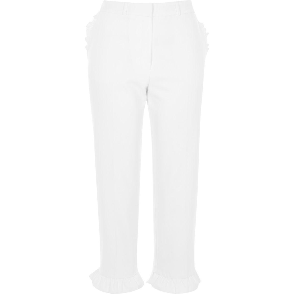 White frill hem cropped pants