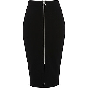 Black zip through midi pencil skirt