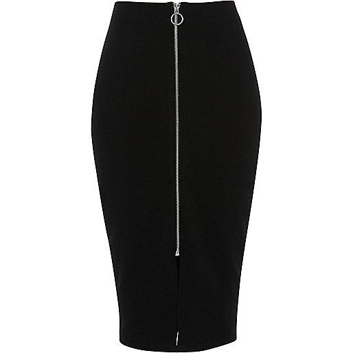 Black zip through midi pencil skirt