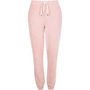 Light pink brush fleece jersey joggers
