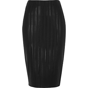 Black stripe scuba pencil skirt