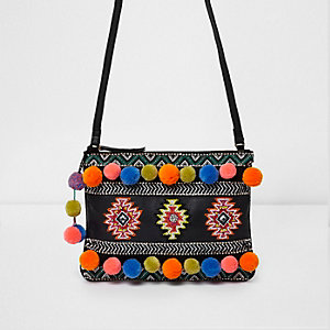 Black leather embellished cross body bag